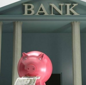 piggy bank at the bank